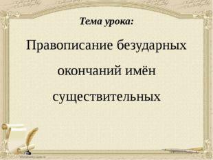 Тема урока: Правописание безударных окончаний имён существительных