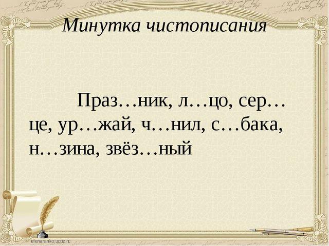 Минутка чистописания Праз…ник, л…цо, сер…це, ур…жай, ч…нил, с…бака, н…зина, з...