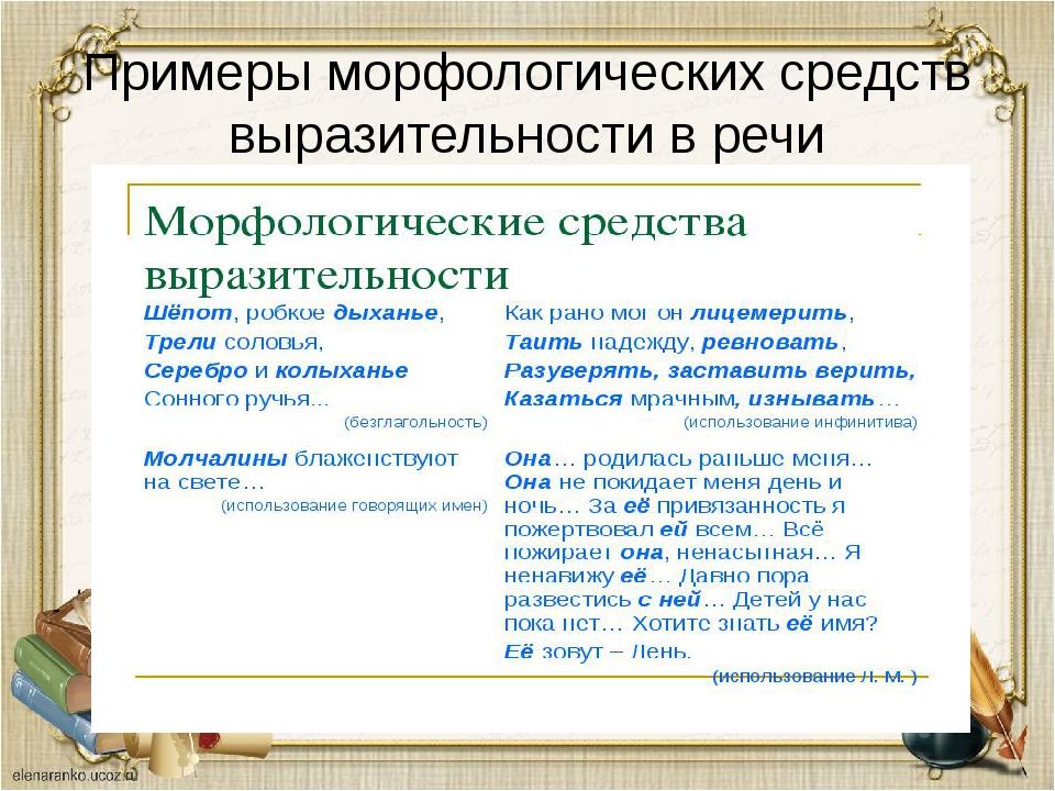 Примеры морфологических средств выразительности в речи