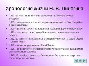 Хронология жизни Н. В. Пинегина 1883, 10 мая – Н. В. Пинегин рождается в г. Е