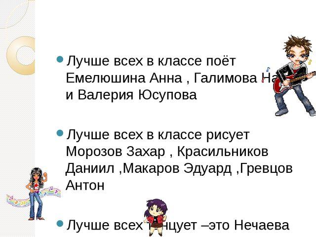 Лучше всех в классе поёт Емелюшина Анна , Галимова Настя и Валерия Юсупова Л...