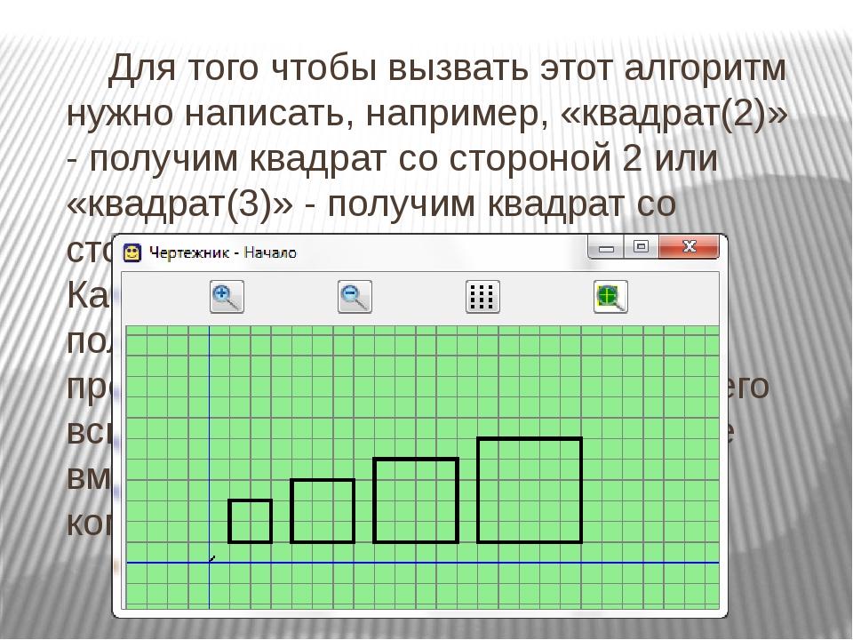 Для того чтобы вызвать этот алгоритм нужно написать, например, «квадрат(2)»...