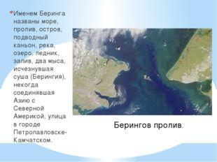 Именем Беринга названы море, пролив, остров, подводный каньон, река, озеро,