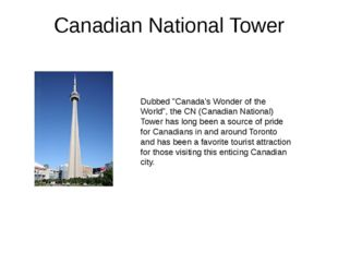"Canadian National Tower Dubbed ""Canada's Wonder of the World"", the CN (Canadi"