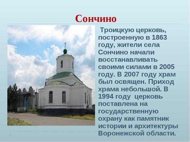 Сончино Троицкую церковь, построенную в 1863 году, жители села Сончино начали...