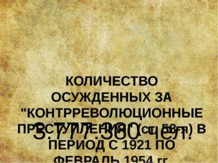 """КОЛИЧЕСТВО ОСУЖДЕННЫХ ЗА """"КОНТРРЕВОЛЮЦИОННЫЕ ПРЕСТУПЛЕНИЯ"""" (ст. 58-я) В ПЕРИО"""