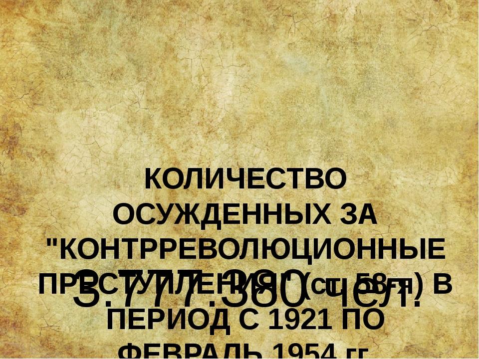"""КОЛИЧЕСТВО ОСУЖДЕННЫХ ЗА """"КОНТРРЕВОЛЮЦИОННЫЕ ПРЕСТУПЛЕНИЯ"""" (ст. 58-я) В ПЕРИО..."""