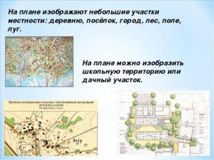 На плане изображают небольшие участки местности: деревню, посёлок, город, лес