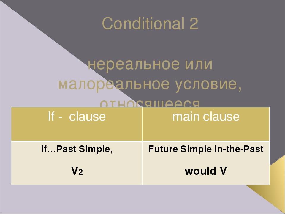 Conditional 2 нереальное или малореальное условие, относящееся к настоящему и...