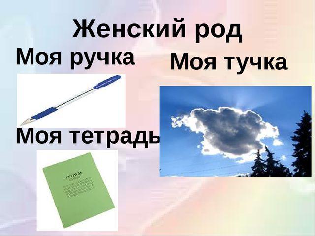 Женский род Моя ручка Моя тучка Моя тетрадь