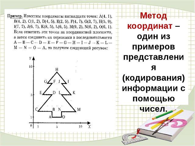 Метод координат – один из примеров представления (кодирования) информации с п...