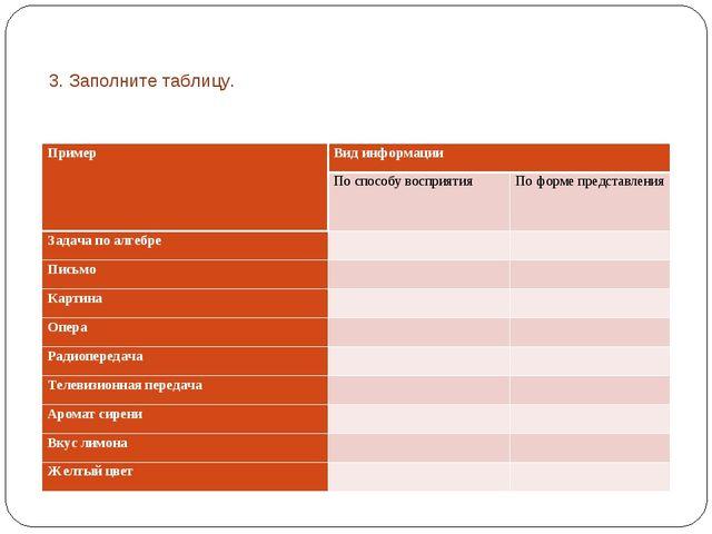 3. Заполните таблицу. ПримерВид информации По способу восприятияПо форме п...