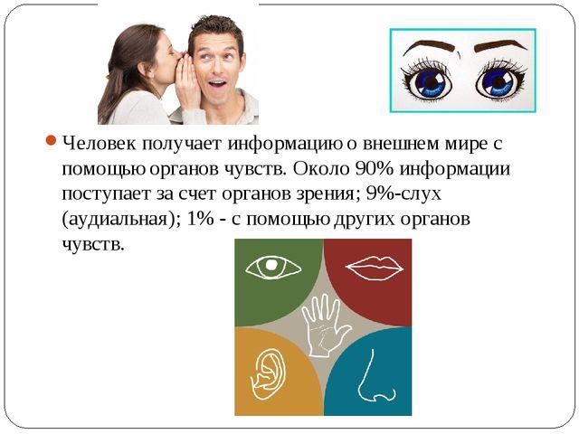 Человек получает информацию о внешнем мире с помощью органов чувств. Около 90...
