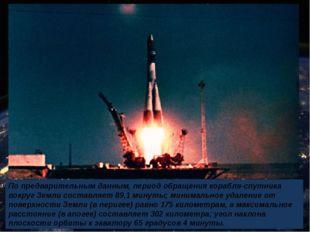 По предварительным данным, период обращения корабля-спутника вокруг Земли сос