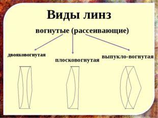Виды линз двояковогнутая плосковогнутая выпукло-вогнутая вогнутые (рассеивающ