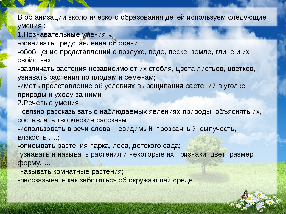 В организации экологического образования детей используем следующие умения :...