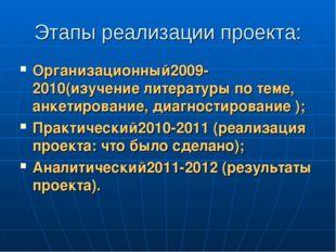 Этапы реализации проекта: Организационный2009-2010(изучение литературы по тем