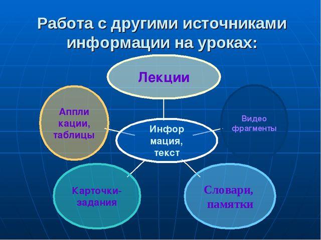 Работа с другими источниками информации на уроках: