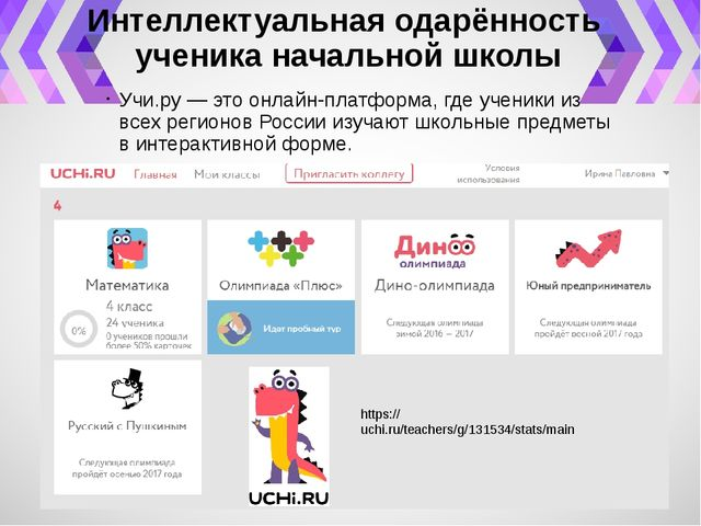 Интеллектуальная одарённость ученика начальной школы Учи.ру — это онлайн-плат...
