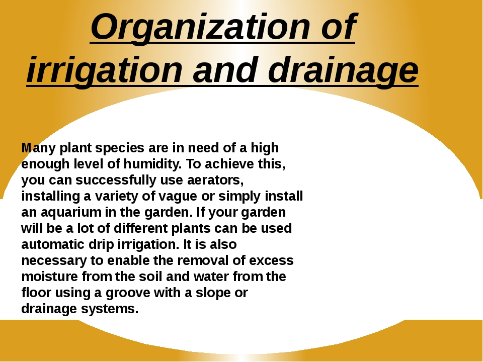 Organization of irrigation and drainage Many plant species are in need of a h...