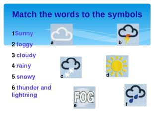 Match the words to the symbols 1Sunny 2 foggy 3 cloudy 4 rainy 5 snowy 6 thun