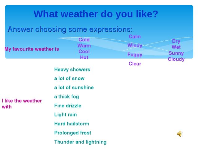 What weather do you like? My favourite weather is Calm Windy Foggy Clear I li...