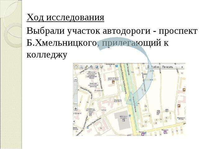 Ход исследования Выбрали участок автодороги - проспект Б.Хмельницкого, прил...
