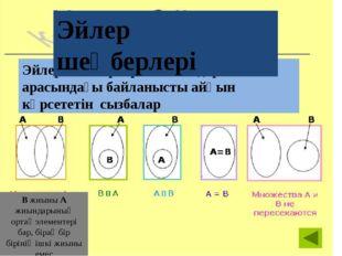 B жиыны A жиындарының ортақ элементері бар, бірақ бір бірінің ішкі жиыны емес