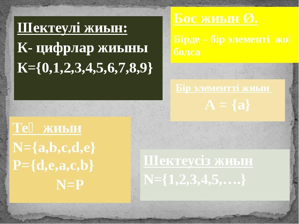 Бос жиын Ø. Бірде – бір элементі жоқ болса Шектеулі жиын: К- цифрлар жиыны К=...