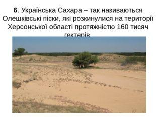 6. Українська Сахара – так називаються Олешківські піски, які розкинулися на