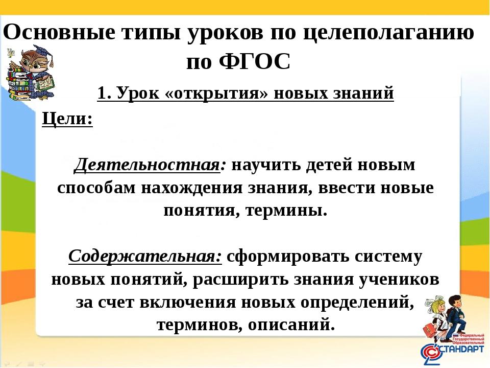 Основные типы уроков по целеполаганию по ФГОС 1. Урок «открытия» новых знани...