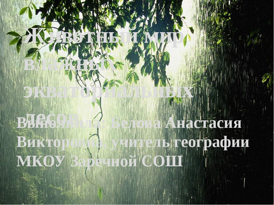 Выполнила: Белова Анастасия Викторовна, учитель географии МКОУ Заречной СОШ Ж...