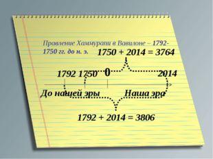 Правление Хаммурапи в Вавилоне – 1792-1750 гг. до н. э. 0 Наша эра До нашей