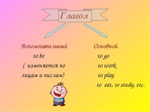 Глагол Вспомогательный Основной to be to go ( изменяется по to work лицам и ч