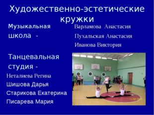 Художественно-эстетические кружки Музыкальная Варламова Анастасия школа -