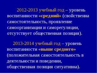 2012-2013 учебный год – уровень воспитанности «средний» (свойственна самосто