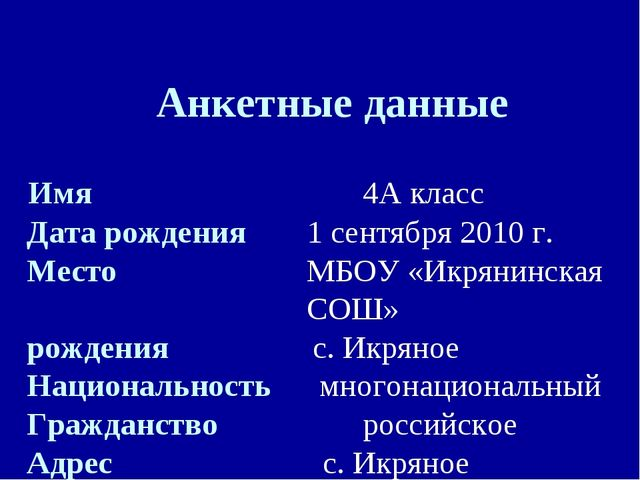 Анкетные данные Имя  4А класс Дата рождения 1 сентября 2010 г. Место...