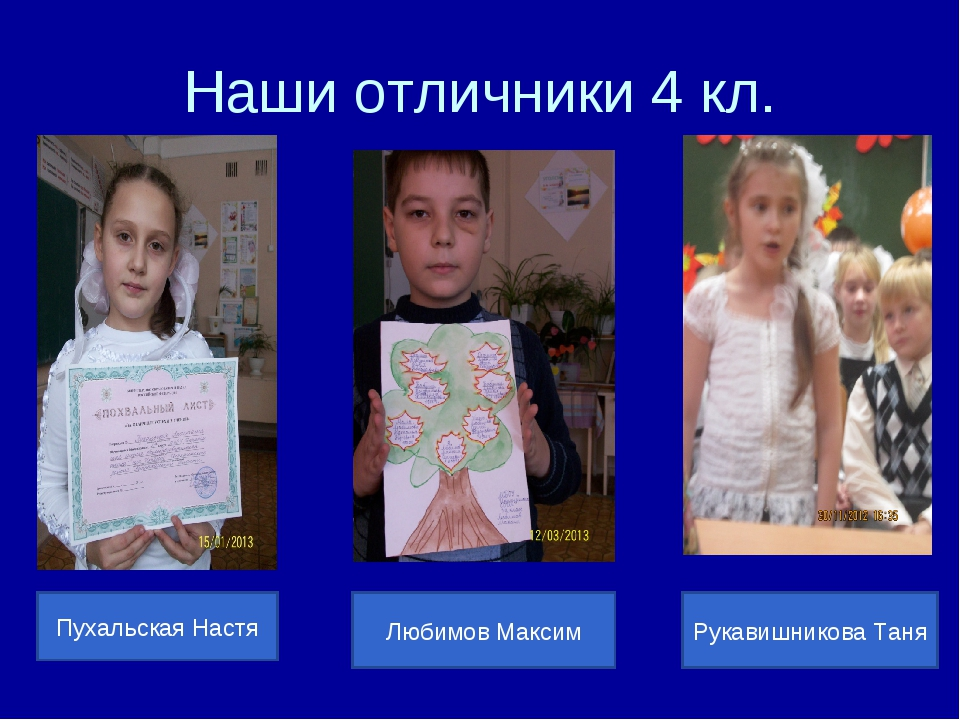 Наши отличники 4 кл. Пухальская Настя Любимов Максим Рукавишникова Таня