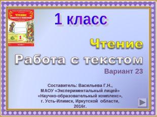 Вариант 23 Составитель: Васильева Г.Н., МАОУ «Экспериментальный лицей» «Научн