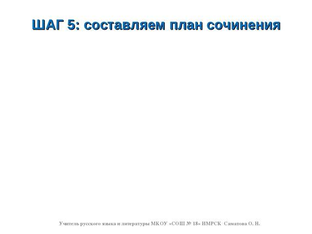 ШАГ 5: составляем план сочинения Учитель русского языка и литературы МКОУ «СО...