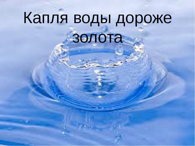 Капля воды дороже золота