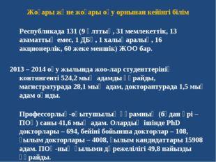 Жоғары және жоғары оқу орнынан кейінгі білім Республикада 131 (9 ұлттық, 31 м