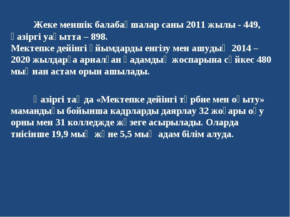 Жеке меншік балабақшалар саны 2011 жылы - 449, қазіргі уақытта – 898. Мектеп...