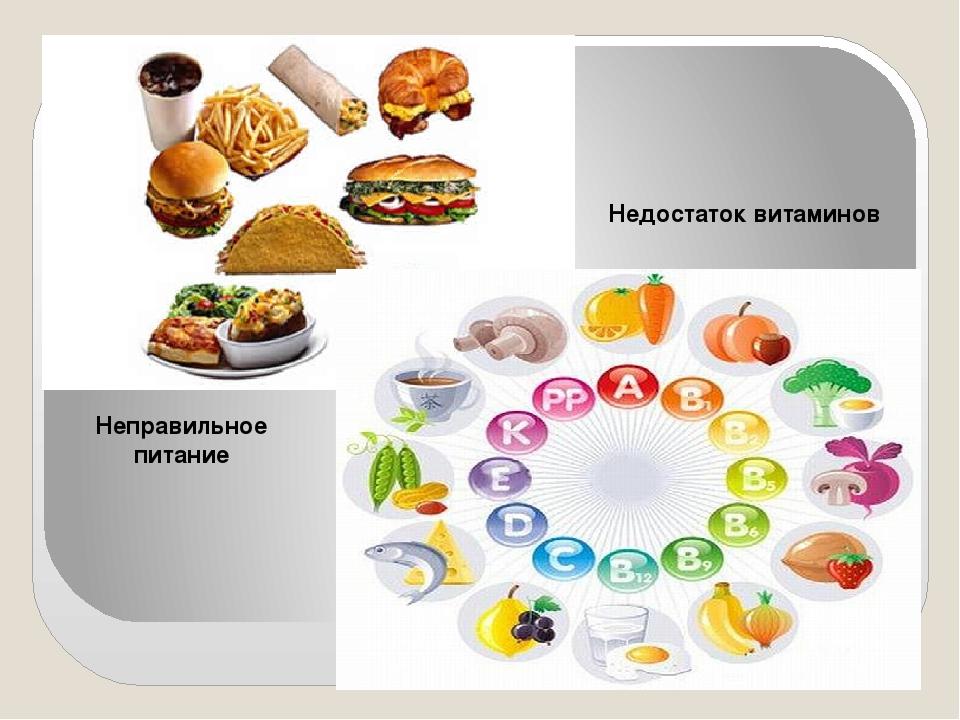 Неправильное питание Недостаток витаминов
