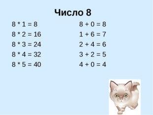 Число 8 8 * 1 = 8 8 * 2 = 16 8 * 3 = 24 8 * 4 = 32 8 * 5 = 40 8 + 0 = 8 1 + 6