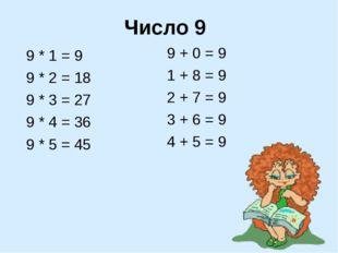 Число 9 9 * 1 = 9 9 * 2 = 18 9 * 3 = 27 9 * 4 = 36 9 * 5 = 45 9 + 0 = 9 1 + 8