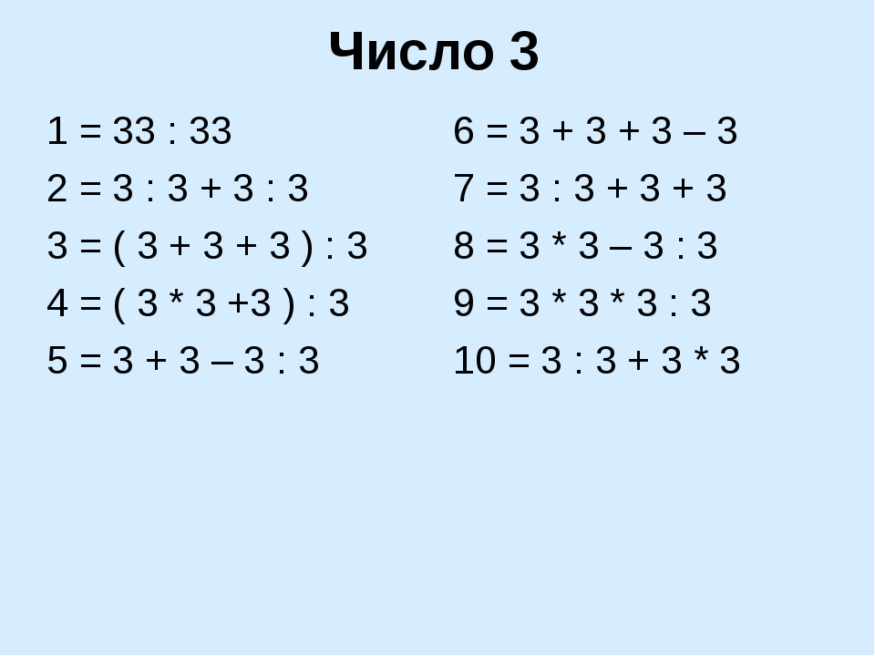 Число 3 1 = 33 : 33 2 = 3 : 3 + 3 : 3 3 = ( 3 + 3 + 3 ) : 3 4 = ( 3 * 3 +3 )...