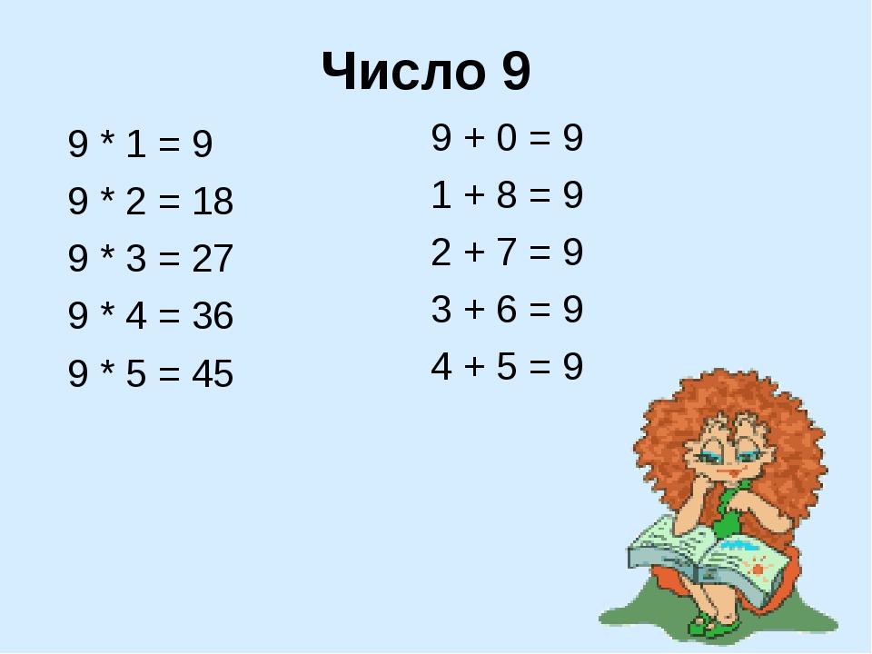Число 9 9 * 1 = 9 9 * 2 = 18 9 * 3 = 27 9 * 4 = 36 9 * 5 = 45 9 + 0 = 9 1 + 8...