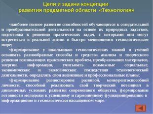 Цели и задачи концепции развития предметной области «Технология» наиболее пол