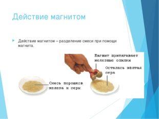 Действие магнитом Действие магнитом – разделение смеси при помощи магнита.
